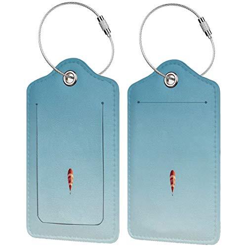 FULIYA - Juego de 2 etiquetas de cuero para maletas, identificador de viaje para bolsas y equipaje, para hombres y mujeres, globo aerostático, vuelo, cielo, minimalismo