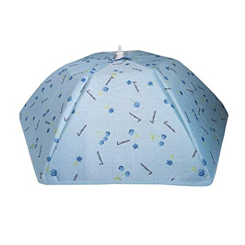 Clenp Cubierta de alimentos aislada, a prueba de polvo, plegable, de aluminio, cubierta de alimentos, preservación del calor, mesa de comedor, tienda de campaña azul 41 cm