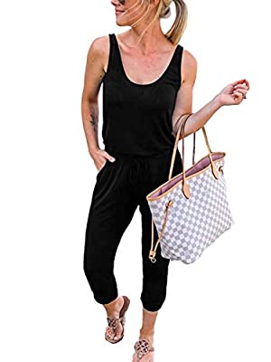ANRABESS Women Summer Solid Casual Loose Sleeveless Jumpsuit Romper A208heise-S