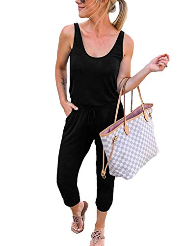 ANRABESS Women Summer Solid Casual Loose Sleeveless Jumpsuit Romper A208heise-L