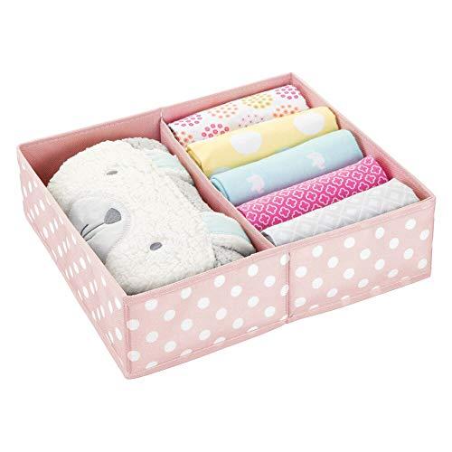 mDesign Caja de almacenaje para Habitaciones Infantiles o baños – Cesta organizadora con 2 Compartimentos –...
