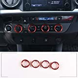 TongSheng Red Car Air Conditioner and Volume Vent Outlet Knob Button Cover 4pcs for Toyota Tacoma 2015 2016 2017 2018 2019 2020 2021