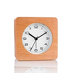 Artinova Wooden Alarm Clock, Classic Square Outlook, Wooden Handmade, Silent Desk Alarm Clock with Nightlight(Manual Control) for Bedroom Home Office, ARTA-6038