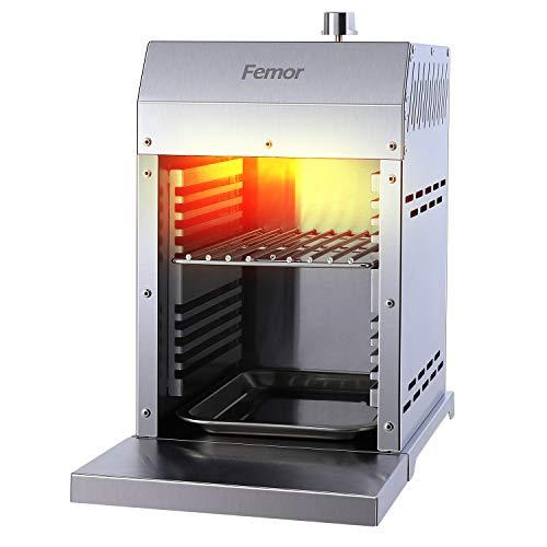 femor 800°C Hochleistungsgrill,Oberhitzegrill aus Edelstahl mit Keramik Brenner&Impulszünder,Steakgrill inkl. Grillrost,Gastroschale,Gasschlauch und Druckminderer Kompaktes Design, Leicht zu reinigen