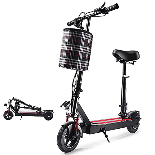 MKKYDFDJ E-Bicicleta con Neumáticos Andxplosion Proof,Asiento Extraíble,Plegable Patinete Eléctrico para Adultos,350w Brushless...