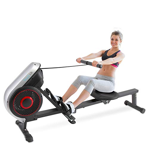 SereneLife Rowing Machine – Air and Magnetic Rowing Machine – Rowing Exercise Machine for Gym or Home Use – Measures Time, Distance, Stride, Calories Burned – Rowing Machine Cardio Workout for Fitness