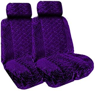 Set of 2 Universal Fit Low Back Swirl Pattern Front Bucket Seat Cover - Purple