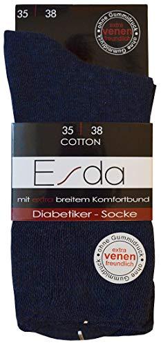 Esda - Damen Diabetiker-Socke jeans 2er-Pack (extra venenfreundlich) 39/42