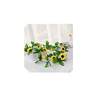 230cm Silk Artificial Flowers Sunflowers Ivy Vine Plastic Fake Flowers for Home Decoration Summer Rattan String Hanging Leaves
