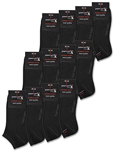 sockenkauf24 12 Paar Premium Sneaker Socken Damen & Herren ohne Naht & ohne Gummidruck Schwarz Weiß Beige Baumwolle - 16400 (43-46, 12 Paar   Schwarz)