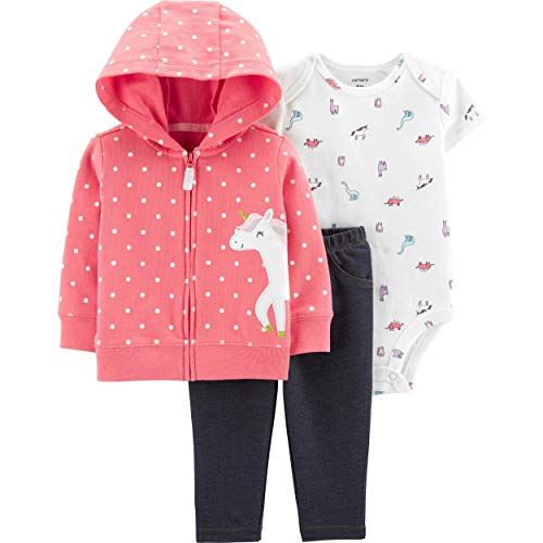 Carter's Baby Infant Unicorn Dinosaurs 3-Piece Layette Set - Pink/Multi, 24