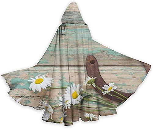 KEROTA Capa con capucha de Halloween Margaritas rústicas herradura oxidada en bruja de madera vieja Navidad adulto Cosplay partido Cabo
