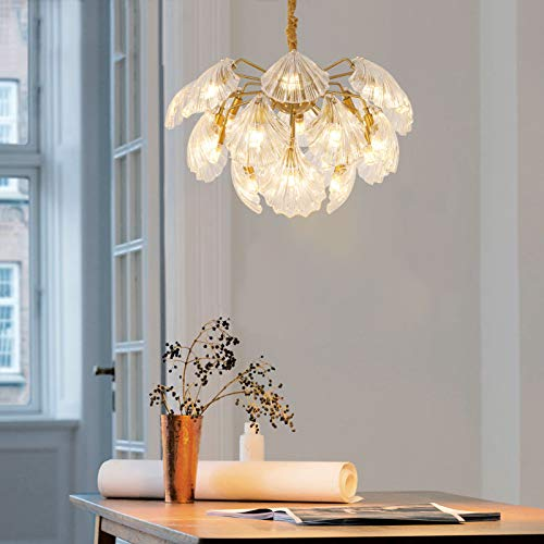 CRYGD Shell-vormige glazen lamp, romantische plafondlamp ophangsysteem hanglamp voor eetkamer slaapkamer woonkamer, E14 LED driekleurige instelling lichtbron