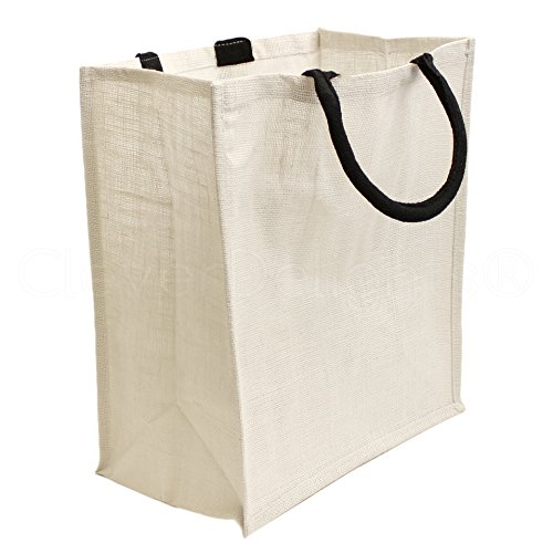 "CleverDelights 10 Pack White Burlap Shopping Bags - 16"" x 14"" x 8"" - Cotton Handles - Laminated Lining"