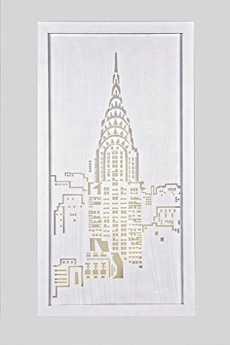 CVC- Pannello decorativo retroilluminato, legno, Nyc Building, rintagliato. Dimensione 61x120 cm. Made in Italy