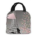 Bolsa de almuerzo de neopreno con flores de la Torre Eiffel de París MQJJ, lonchera aislada, ligera, impermeable, bolsas de almuerzo