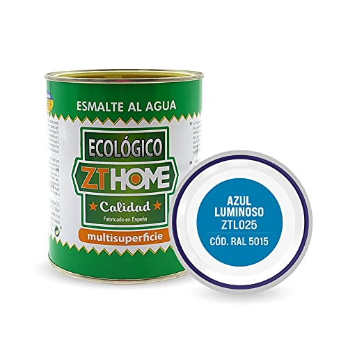 Pintura acrilica Ecológica al agua Azul Luminoso madera, metal, radiadores, aluminio / Esmalte al agua / cunas, muebles, azulejos , puertas para exterior e interior 750ml - RAL 5015