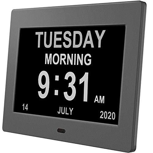 Pipishell Digital Calendar Alarm Day Clock - with 8' Large Screen Display, am pm, 5 Alarm, Dementia Clocks for Alzheimers Sufferers Elderly Seniors Memory Loss Impaired