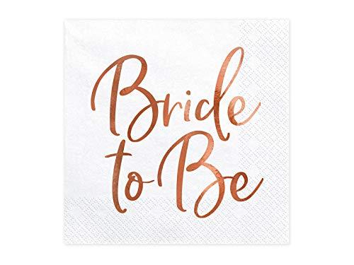 Party Deco Servietten für Braut, Hochzeitparty - Bride To Be - Rose Gold, 33 X 33 cm - Hochzeitsserviette, Cocktail-Servietten für Event, Hochzeit, Jubiläum, Hochzeitstag, Hochzeitdeko