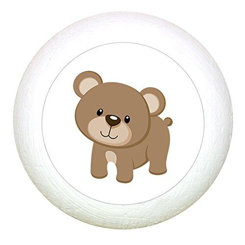 Möbelknauf Bär weiss Holz Kinder Kinderzimmer 1 Stück Waldtiere
