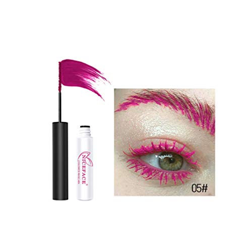 Shenye Natural Fine Brush Wimperntusche, Make-up Permanent Multicolor Wimperntusche Eyelash Waterproof Extension Mascara Kosmetischer Beauty Eyeliner Langanhaltende Wimperntusche (Pink)