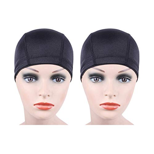 2 pcs/lot Black Dome Cap Wig Cap for Making Wigs Stretchable Hairnets with Wide Elastic Band (Dome...