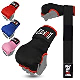 HUNTER Gel Padded Inner Gloves with Hand Wraps for Boxing (Set of 2) (Black, L/XL)