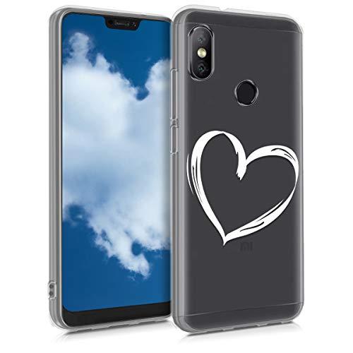 kwmobile Funda Compatible con Xiaomi Redmi 6 Pro/Mi A2 Lite - Carcasa de TPU y Dibujo de corazón en Blanco/Transparente