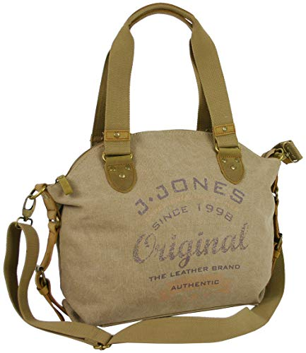 J JONES JENNIFER JONES Damen Handtasche aus Canvs   Schultertasche, Umhängetasche Vintage Look… (Natur)