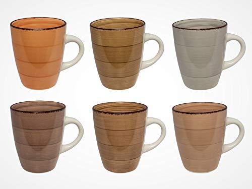 MC Trend 6er Set Kaffeebecher - harmonische Farben Tassen Geschirr Kantine Küche zu Hause 350 ml (6er Set BRAUN SORTIERUNG)