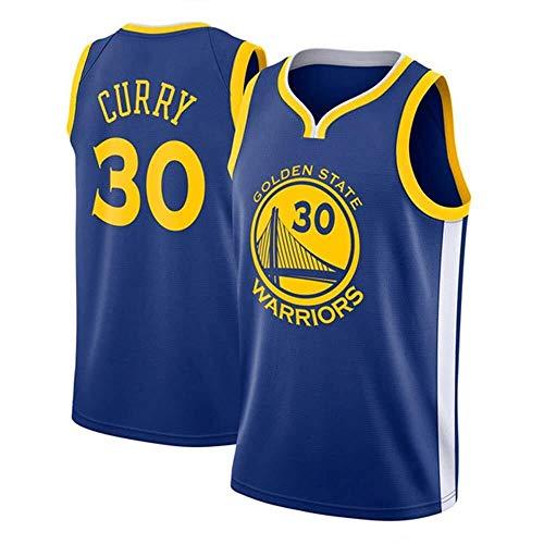 Shelfin Maglia da Uomo NBA Jersey Golden State Warriors No.30 Curry Maglie Traspirante Ricamati Pallacanestro Swingman Jersey (Color : Blue, Size : XXL)