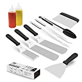 Rayze Griddle Accessories Kit for Blackstone - 10 Pcs Griddle Spatulas Set - Restaurant Grade Stainless Steel Flat Top Spatulas, Great for Outdoor BBQ, Hibachi, Best Gift Choice for Grill Lover