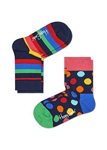 Happy Socks Unisex Baby 2-Pack Kinder Stripe Socken, bleu, 0/1 Jahr EU (2er Pack)