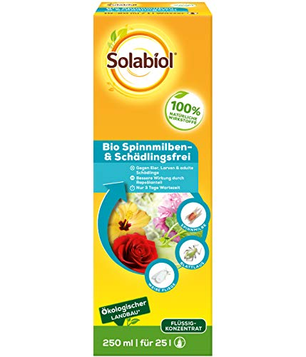 Solabiol Bio Spinnmilben & Schädlingsfrei, gegen schädliche Insekten wie Blattläuse, Spinnmilben, Schildläuse und viele weitere, Konzentrat für den biologischen Anbau, 250 ml