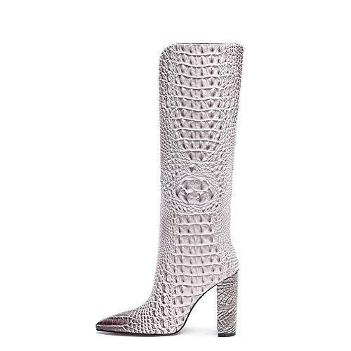Botas Largas para Mujer Botas Altas Tacón Grueso Sexy Botas Altas hasta La Rodilla Zapatos de Vestir Primavera Otoño,Blanco,39