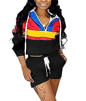 VOIKERDR Women 2 Piece Outfits Tracksuit Jumpsuits Lightweight Windbreaker Pullover Jacket Crop Top Pants Set Black XL