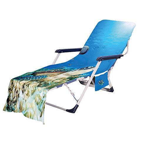 Fansu Schonbezug für Gartenliege Frottee Liegenauflage Garten Sonnenliege Handtuch mit 2 Taschen Stuhl Strandtuch für Schwimmbäder, Strände, Gartenhotels (Stein,75x210cm)