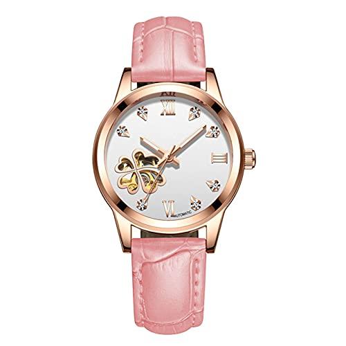 TREWQ Reloj Automático Mujer Esqueleto Fondo de Vidrio Impermeable Luminoso Relojes de Pulsera,Pink White