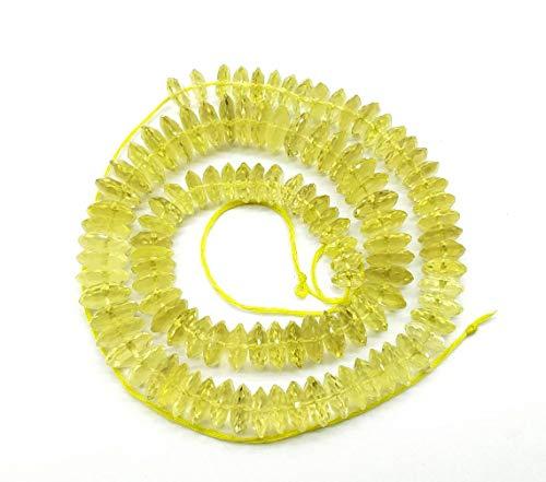 Shree_Narayani Cuentas sueltas de cuarzo de limón de alta calidad con micro facetas rondelle de 7 a 12 mm de 16.5 pulgadas para hacer joyas, manualidades, collares, pulseras, pendientes, 1 hebra