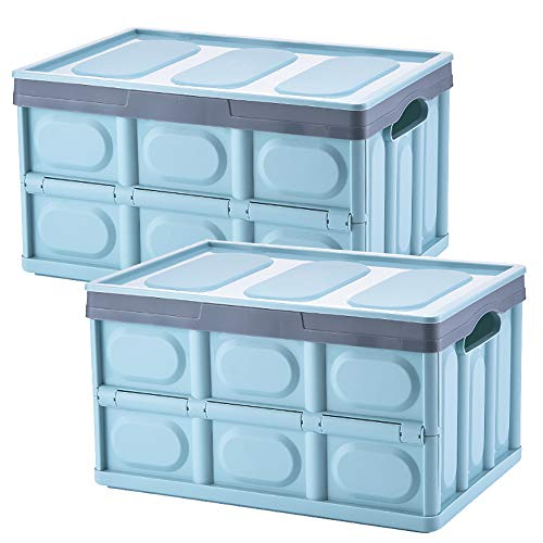 Lidded Storage Bins 2 Pack 30L Collapsible Storage Box Crates Plastic Tote Storage Box Container Stackable Folding Utility Crates for Clothes, Toy, Books ,Snack, Shoe, and Grocery Storage Bin-Blue