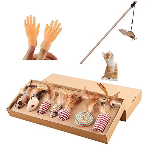 DAIRF Feather Teaser Toy,Katzenspielzeug-Set 7 Stück Feather Toys Necken Die Katze Stick mit 2 Stück Finger Spielzeug Ruck Katze Kunststoffhandschuhe Links und Rechts Kleine Hände
