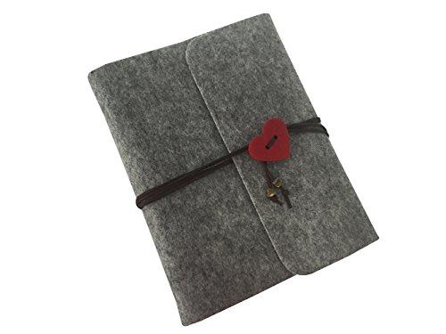 Wanruisi Vintage Retro Felt Cover Handgemaakte Zelfklevende DIY Wedding Anniversary Journal Fotoalbum Scrapbook, 30 vellen/60 zijden van zwart papier, 23 x 17cm