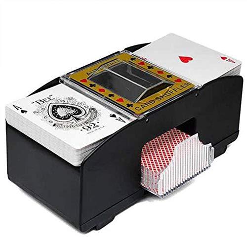 Urhomy - Mezclador de cartas eléctrico (mezclador automático para póquer y tarjetas, funciona con pilas, eléctrico, 2 barajas, póquer)
