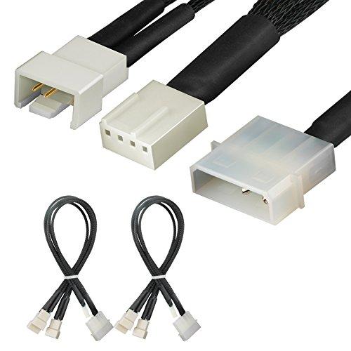 J&D 2 Paquetes 4 Pines Molex a 3 x PWM Cable Divisor de Ventilador - 30cm