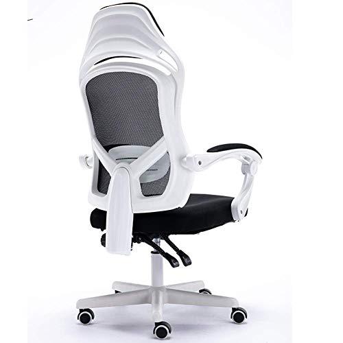 N/Z Home Equipment Silla de Oficina de Malla de Tela ergonómica Silla para computadora Silla de Escritorio con Asiento Grande Silla Ajustable y giratoria con Soporte Lumbar (Color: Blanco)