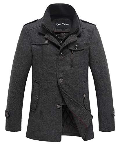 chouyatou Men's Winter Stylish Wool Blend Single Breasted Military Peacoat (XX-Large, Thick-Grey)