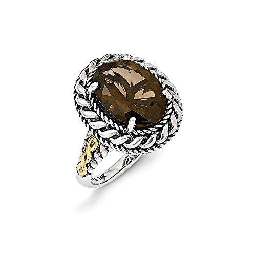 925 Sterling Silver With 14ct Smokey Quartz Ring Size P 1/2 Jewelry Gifts for Women