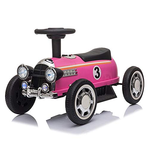 Kids Electric Ride On Car with Music Player LED Lights, Kids Toddler Ride On Cars 6V Battery Motorized Vehicles Children's Best Toy Car Safe, Music, seat Belts, LED Lights and Realistic Horns (Pink)