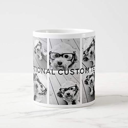 6 fotos Collage texto opcional – CAN Edit Color Taza de café gigante de cerámica taza de café divertida 325 ml + caja de regalo gratis