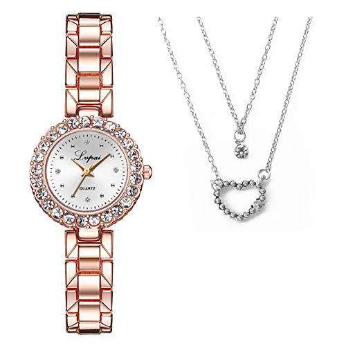 foreverH Damen Halskette und Uhren Set,Kette Herz Damen Halskette,Armbanduhr Elegant Analog Quarz Armbanduhr mit Edelstahlarmband Minimalistische Mode Dial Damenuhr Diamant Uhr Geschenke (Style1-H)